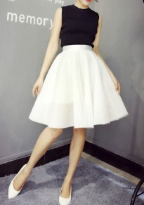 White Grenadine High Waisted Plus Size Party For Teens Puffy Tulle Sweet Skirt