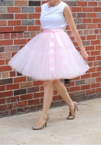 Pink Ribbons Bow Grenadine High Waisted Party Fluffy Puffy Tulle Skirt