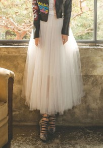 White Pleated Grenadine Elastic Waist Sweet Skirt