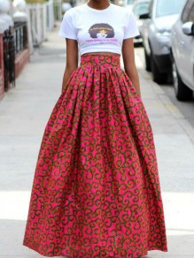 Red Floral Print High Waisted Fashion Skirt
