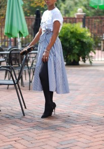 Blue-White Striped Sashes Buttons Pleated Slit High Waisted Skirt