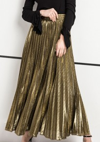 Golden Pleated Oversize Elastic Waist High Waisted Skirt