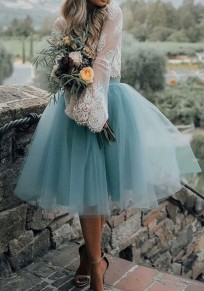 Blue Grenadine Pleated Oversize Tulle Tutu High Waisted Skirt