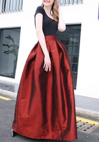Burgundy Draped Zipper Pockets Flare Out High Waisted Party Fluffy Puffy Skirt