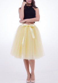 Yellow Patchwork Bow Draped Grenadine Fluffy Puffy Tulle Cute High Waisted Skirt