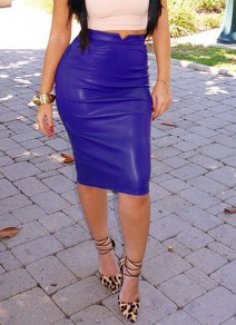 Blue Faux PU Leather Bodycon High Waisted Fashion Skirt