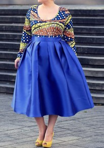 Blue Pleated Pockets Tutu A-Line High Waisted Skater Homecoming Party Skirt