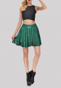 Green Mid-rise Skinny Mermaid Scale Sparkly Skirt