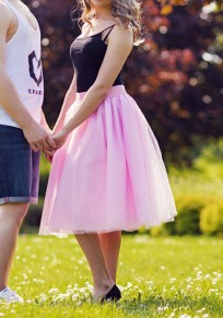 Pink Grenadine Plus Size High Waisted Fluffy Puffy Tulle Adorable Tutu Homecoming Party Skirt