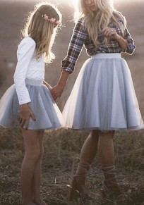 Light Grey Grenadine Fluffy Puffy Tulle High Waisted Plus Size Tutu Party Skirt