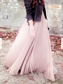 Pink High Waisted Floor Length Chiffon Skirt