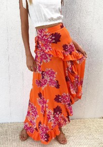 Orange Floral Print Irregular Ruffle Holiday Beach Bohemian Skirt