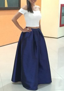 Blue Pleated Elastic Waist High Waisted Elegant Prom Evening Party Skirt