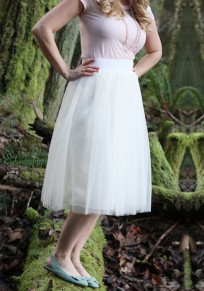 White Grenadine Pleated Fluffy Puffy Tulle Tutu High Waisted Homecoming Party Cute Skirt