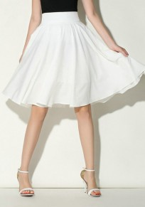 White Draped Zipper High Waisted Sweet Cute Going Out Skirt