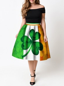 Green Color Block Leaves Pattern St. Patrick's Day High Waisted Skater Tutu Flare Skirt