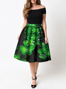 Black Leaves Pattern St. Patrick's Day High Waisted Skater Tutu Flare Skirt