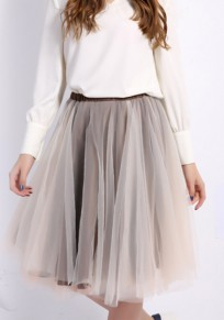 Light Coffee Grenadine Draped Sweet Cute Going out Skirt