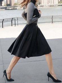 Black Pockets Pleated High Waisted Zipper Elegant Party Going out Skirt