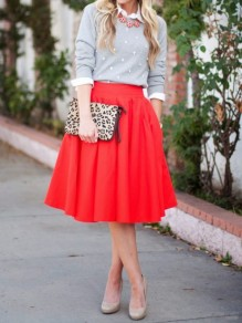 Red Pockets Pleated High Waisted Zipper Elegant Party Going out Skirt