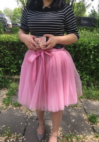Rubber Red Draped Grenadine Bow Puffy Tulle High Waisted Adorable Tutu Skirt