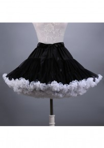 Black Pleated Bow Sweet Mini Skirt Free Size Dress Petticoat Short Underskirt