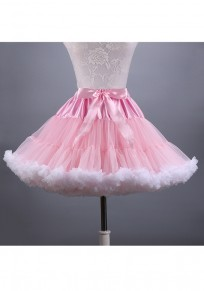 Light Pink Pleated Grenadine Sashes Bow Fluffy Puffy Tulle Sweet Skirt