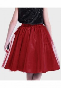 Burgundy Grenadine Draped Sashes Fluffy Puffy Tulle Homecoming Party Sweet Skirt