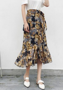 Yellow Floral Irregular Ruffle Drawstring Waist Sweet Skirt