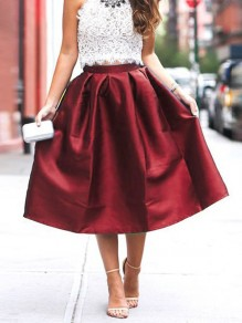 Burgundy Pleated High Waisted Cute Sweet Tutu Homecoming Party Skirt
