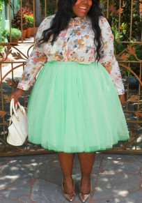 Mint Green Grenadine Pleated Fluffy Puffy Tulle Plus Size Homecoming Party Sweet Skirt