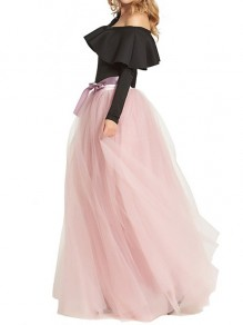 Pink Plain Grenadine Bow Draped Elastic Waist Fashion Skirt