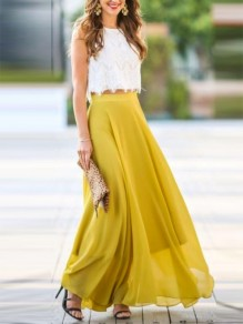 Yellow Patchwork Lace Draped Elastic Waist Ladies Elegant Long Skirt