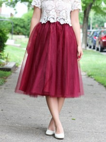 Burgundy Grenadine Pleated High Waisted Homecoming Party Sweet Skirt