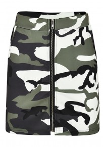 Army Green Camouflage Print Zipper High Waisted Casual Party Skirt