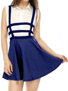 Blue Cut Out Condole Belt High Waisted Above Knee Skirt
