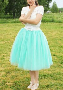 Mint Green Grenadine Pleated High Waisted Plus Size Fluffy Puffy Tulle Tutu Homecoming Party Skirt