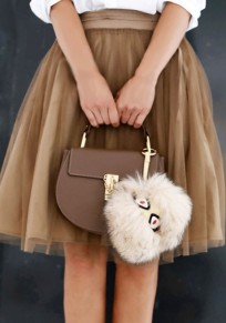 Coffee Pleated Grenadine Fluffy Puffy Tulle High Waisted Tutu Party Skirt