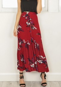 Red Floral Print Buttons Draped High Waisted Fashion Skirt