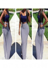 White-Purple Striped Print Slit Going out Casual Skirt