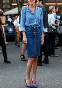 Blue Single Breasted Ruched Bodycon High Waisted Denim Elegant Pencil Skirt
