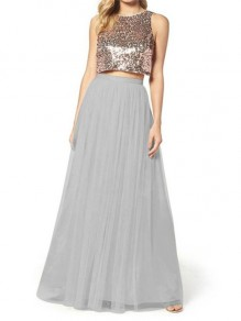 Grey Pleated Grenadine Fluffy Puffy Tulle Elastic Waist Casual Sweet Going out Long Skirt