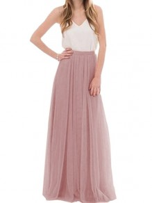 Pink Pleated Grenadine Fluffy Puffy Tulle Tutu Elastic Waist Long Chiffon Maxi Skirt