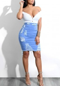 Light Blue Cut Out Denim Ripped Destroyed Zipper High Waisted Trendy Skirt