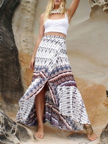 White Floral Belt Slit Bohemian Skirt
