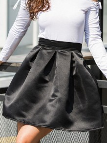 Black Pleated High Waisted Cute Tutu Homecoming Party Skirt