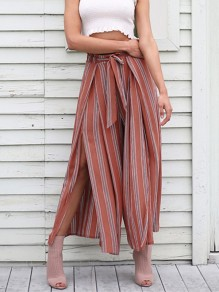 Red Striped Sashes Print Floor Length Casual Skirt