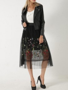 Black Floral Print Pleated Embroidery Grenadine High Waisted Sweet Homecoming Party Tutu Skirt