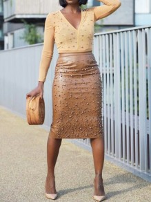 Brown Pearl Back Split Latex High Waisted Elegant Party Skirt
