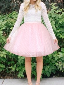 Pink Polka Dot Grenadine Tutu High Waisted Cutu Homecoming Party Skirt